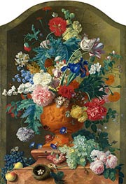 Flowers in a Terracotta Vase | Jan van Huysum | Painting Reproduction