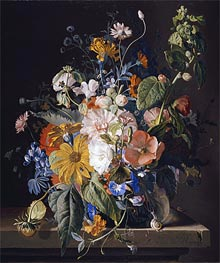 Flowers in a Vase with a Snail on a Ledge, undated by Jan van Huysum | Painting Reproduction