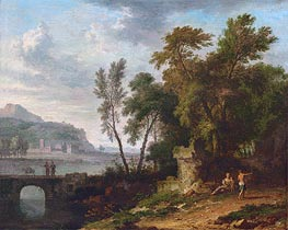 Landscape with Figures, Ruins and Bridge | Jan van Huysum | Painting Reproduction
