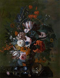 Bouquet of Flowers, b.1716 by Jan van Huysum | Painting Reproduction