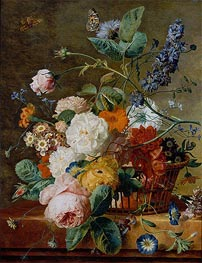 Basket of Flowers with Butterflies, undated by Jan van Huysum | Painting Reproduction