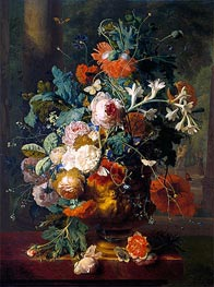 Vase of Flowers in a Park with Statue, undated by Jan van Huysum | Painting Reproduction