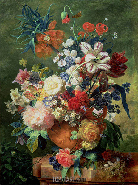 Still Life of Flowers and a Bird's Nest on a Pedestal, undated | Jan van Huysum | Gemälde Reproduktion