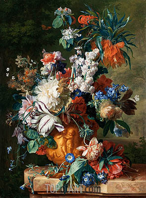 Bouquet of Flowers in an Urn, 1724 | Jan van Huysum | Painting Reproduction