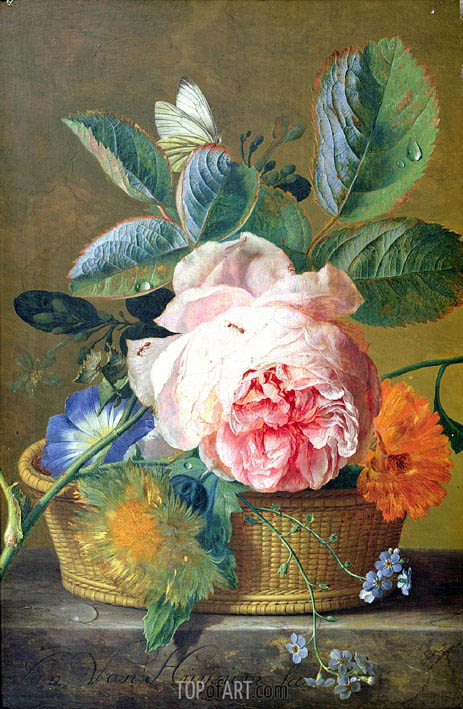 A Basket with Flowers, 1744 | Jan van Huysum | Painting Reproduction