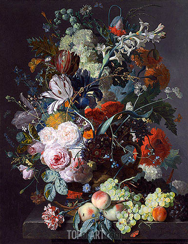 Still Life with Flowers and Fruit, c.1715 | Jan van Huysum | Painting Reproduction