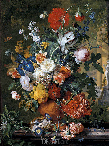 Flowers in a Terracotta Vase on a Marble Ledge, undated | Jan van Huysum | Painting Reproduction