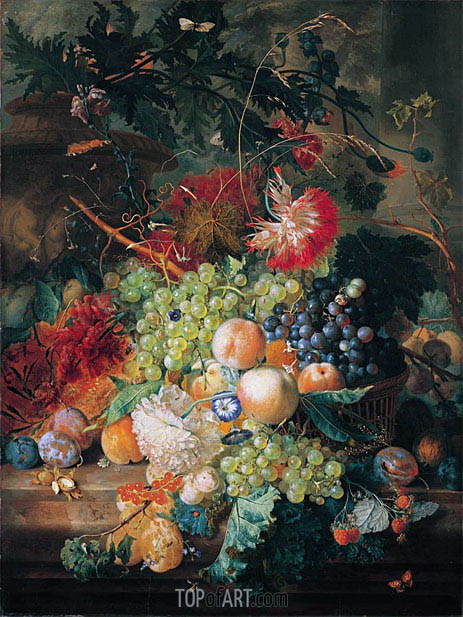 A Still Life of Fruit in a Basket With Flowers And Other Fruit, undated | Jan van Huysum | Painting Reproduction
