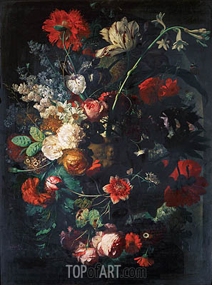 Vase with Flowers on a Socle, undated   Jan van Huysum   Painting Reproduction