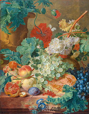 Still Life with Flowers and Fruits, 1749 | Jan van Huysum | Painting Reproduction