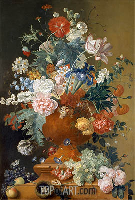 Flowers in a Terracotta Vase, undated | Jan van Huysum | Gemälde Reproduktion