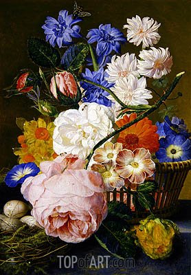 Roses, Morning Glory, Narcissi, Aster and Other Flowers in a Basket, 1744 | Jan van Huysum | Gemälde Reproduktion