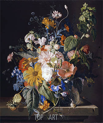 Flowers in a Vase with a Snail on a Ledge, undated | Jan van Huysum | Gemälde Reproduktion