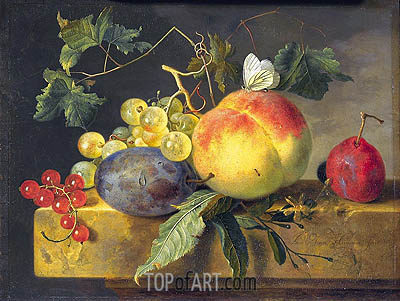Still Life with Fruit and Butterfly, c.1735 | Jan van Huysum | Painting Reproduction