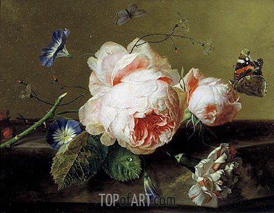 Still Life with Flowers and Butterfly, c.1735 | Jan van Huysum | Painting Reproduction