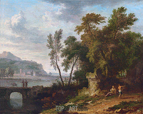 Landscape with Figures, Ruins and Bridge, c.1709/30 | Jan van Huysum | Gemälde Reproduktion