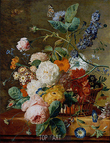 Basket of Flowers with Butterflies, undated | Jan van Huysum | Gemälde Reproduktion