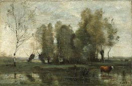 Trees in a Swamp | Corot | Gemälde Reproduktion
