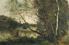 Pond at Ville-d'Avray, with Leaning Tree | Corot | Gemälde Reproduktion