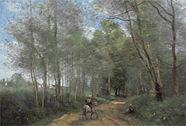 Ville d'Avray - Horseman at the Entrance of Forest | Corot | Gemälde Reproduktion