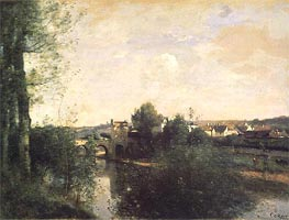 Old Bridge at Limay, on the Seine | Corot | Painting Reproduction