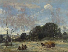 The Return of the Hayers to Marcoussis | Corot | Gemälde Reproduktion