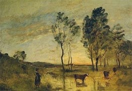 Le Gue - Cows on the Banks of the Gue | Corot | Painting Reproduction