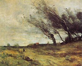 Windswept Landscape | Corot | Painting Reproduction
