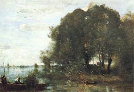 Wooded Peninsula | Corot | Painting Reproduction