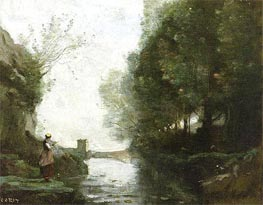 Le cours d'eau a la tour carree | Corot | Painting Reproduction