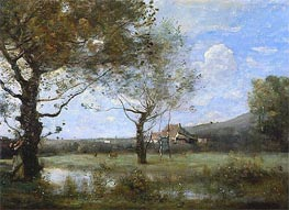 Meadow with Two Large Trees | Corot | Painting Reproduction
