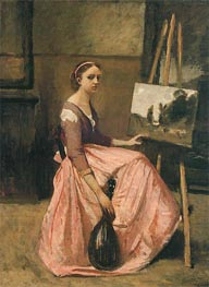 Young Woman in a Red Dress Holding a Mandolin, c.1860 by Corot | Painting Reproduction
