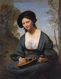 Woman in a Toque with a Mandolin, c.1850/55 by Corot | Painting Reproduction