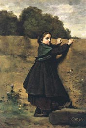 The Curious Lilttle Girl, c.1850/60 by Corot | Painting Reproduction