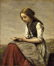 Girl Reading, c.1850/55 by Corot | Painting Reproduction