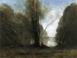The Solitude. Recollection of Vigen, Limousin, 1866 by Corot | Painting Reproduction
