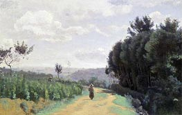 The Severes Hills - Le Chemin Troyon, undated by Corot | Painting Reproduction