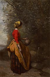 Peasant Girl at the Spring, c.1860/65 by Corot | Painting Reproduction