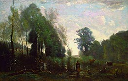 Misty Morning, c.1865 by Corot | Painting Reproduction