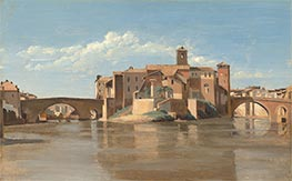 The Island and Bridge of San Bartolomeo, Rome, c.1825/28 by Corot | Painting Reproduction
