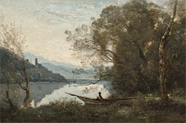 The Moored Boatman: Souvenir of an Italian Lake | Corot | Painting Reproduction