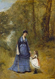 Madame Stumpf and Her Daughter | Corot | Painting Reproduction