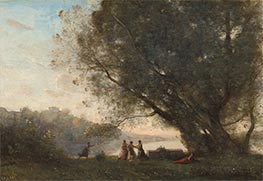 Dance under the Trees at the Edge of the Lake, c.1865/70 by Corot | Painting Reproduction