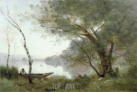 The Boatman of Mortefontaine, c.1865/70 | Corot | Gemälde Reproduktion