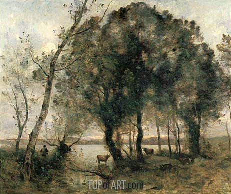 The Lake, 1861 | Corot | Gemälde Reproduktion