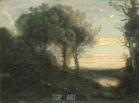 Evening, c.1850/60 | Corot | Gemälde Reproduktion