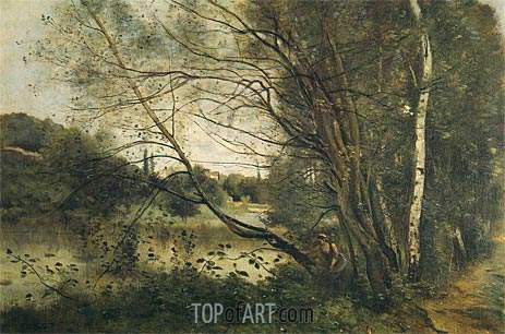 Pond at Ville-d'Avray, with Leaning Tree, 1873 | Corot | Gemälde Reproduktion