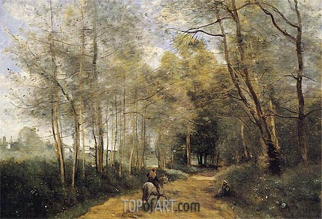 Ville d'Avray - Horseman at the Entrance of Forest, 1873 | Corot | Painting Reproduction