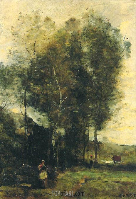 Cowherd in a Dell, Rememberance of Brittany, c.1873   Corot   Gemälde Reproduktion