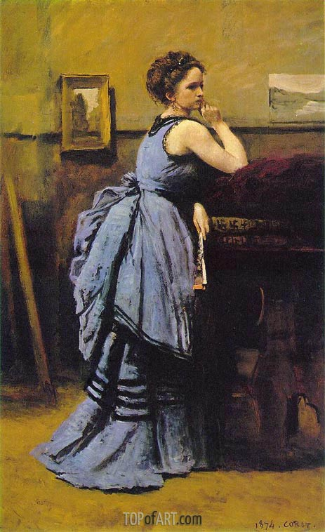Lady in Blue, 1874 | Corot | Gemälde Reproduktion